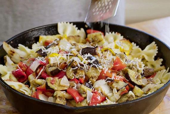 Grilled ratatouille over pasta