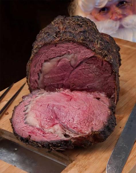 Sliced prime rib roast