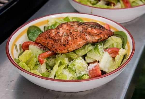 Seared salmon on a salad
