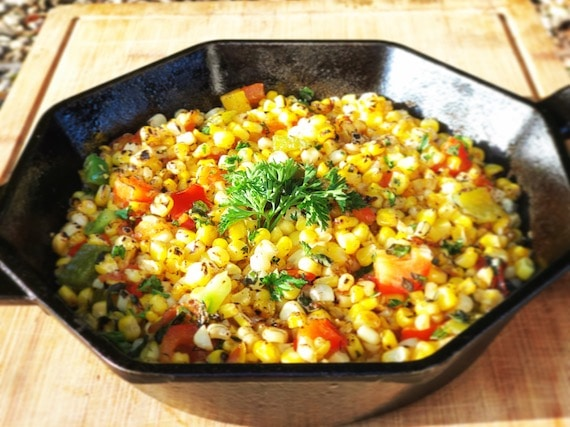 Big bowl of corn and red peppers make a salad