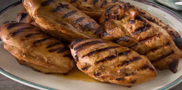 Grilled boneless chicken breasts