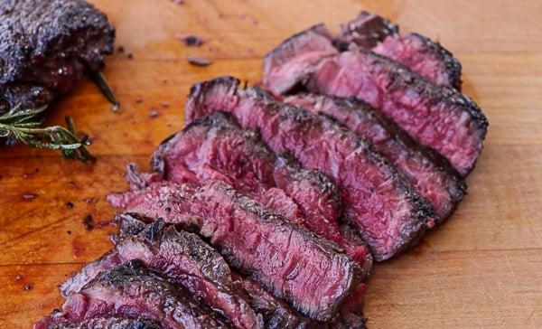 Sliced elk steak