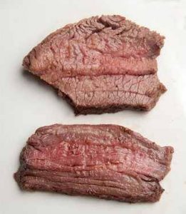 Properly and improperly sliced tri-tip