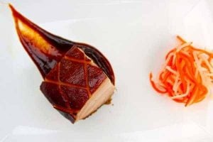 sous vide que pork belly plated