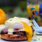 Filet mignon eggs Benedict plated