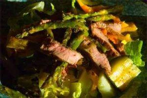 Sliced flanks steak on salad