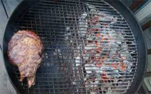 Steak cooking on a 2-zone grill