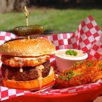 Fried green tomato burger with comeback sauce
