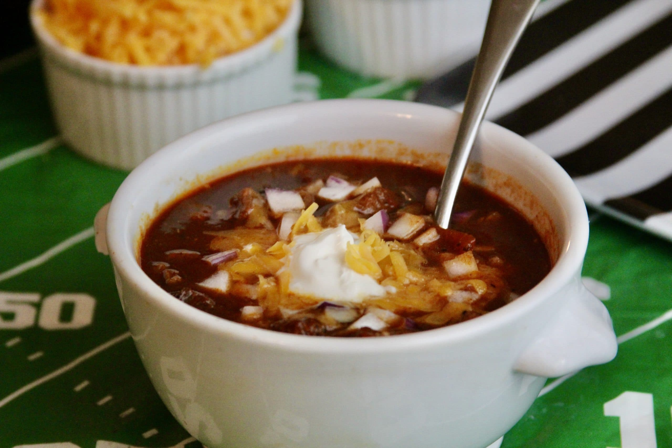 Ground beef chili in bowl