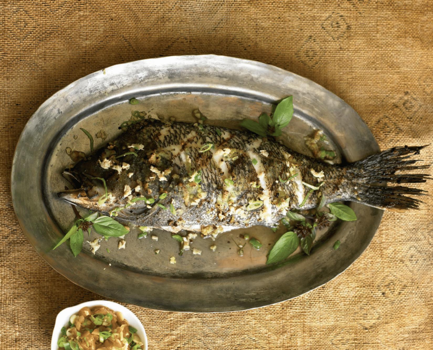 grilled sea bass in wasabi crust